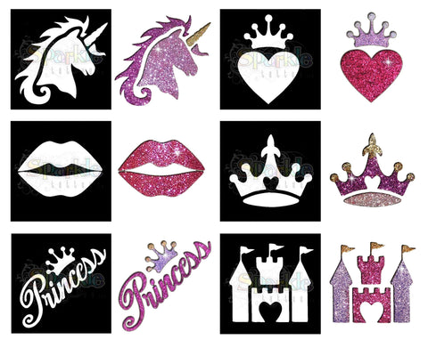 Glitter Tattoo - Princess Stencil Collection