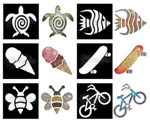 Glitter Tattoo -Summer Fun Stencil Collection (12 pieces)
