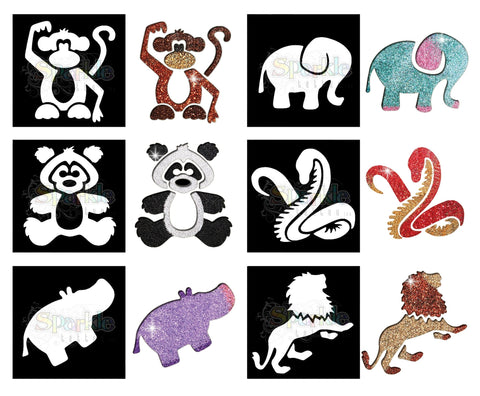 Glitter Tattoo -Zoo Stencil Collection (12 pieces)