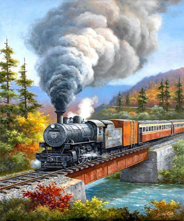 Train Landscape Pattern Diamond Painting Kit - DIY
