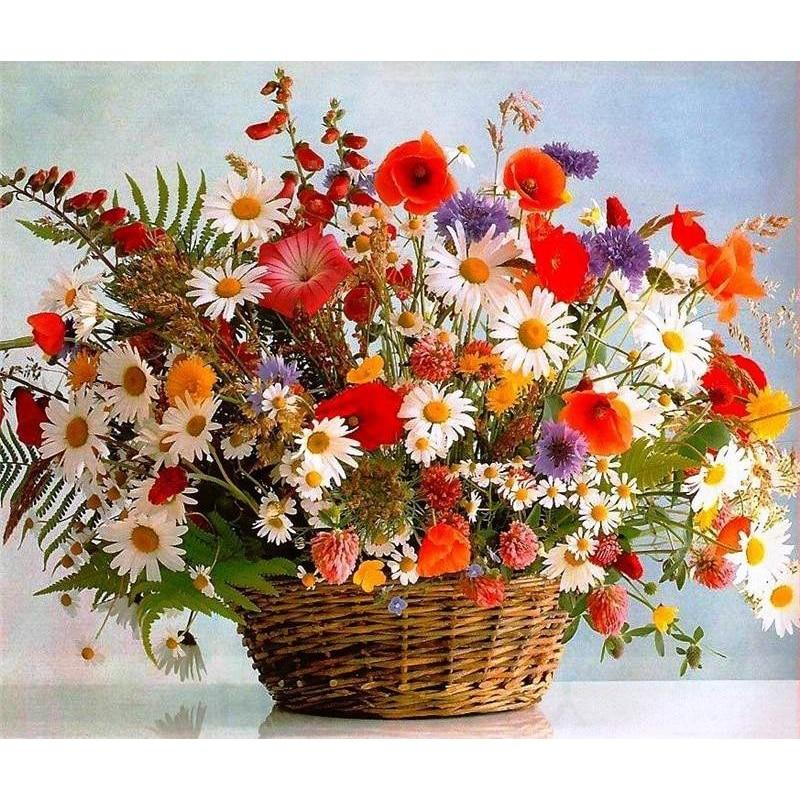 Colorful Flowers And Flower Basket Diamond Painting Kit - DIY