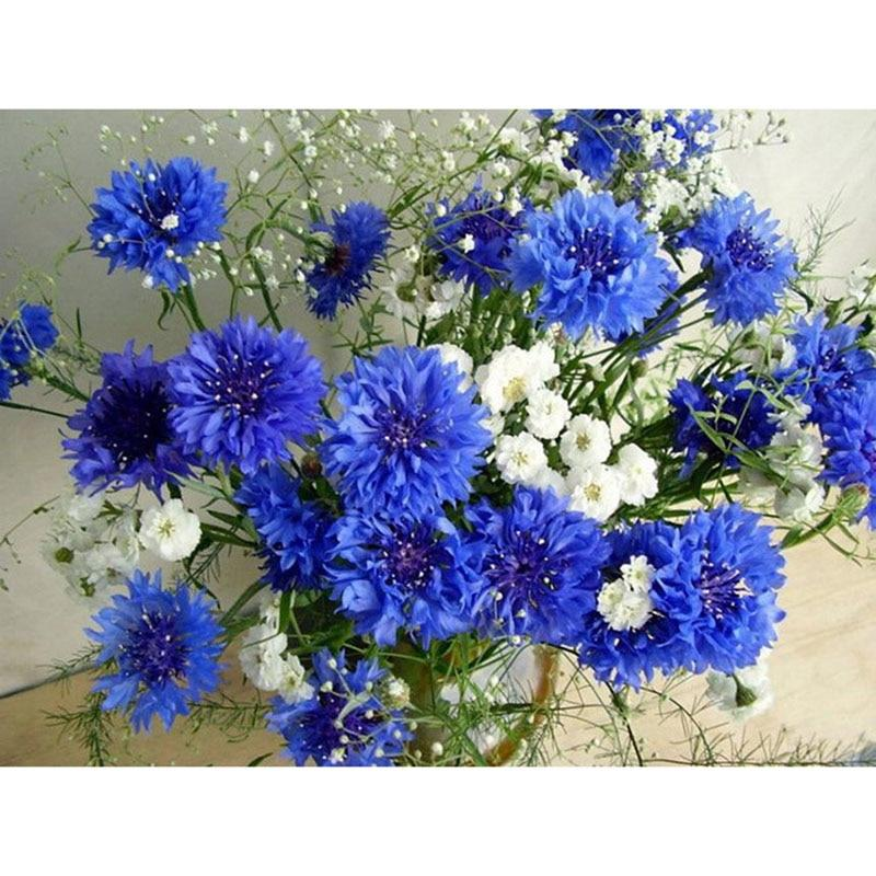 White and blue flowers Diamond Painting Kit - DIY