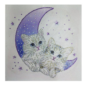 Special Shaped Cats Moon Cute Diamond Painting Kit - DIY