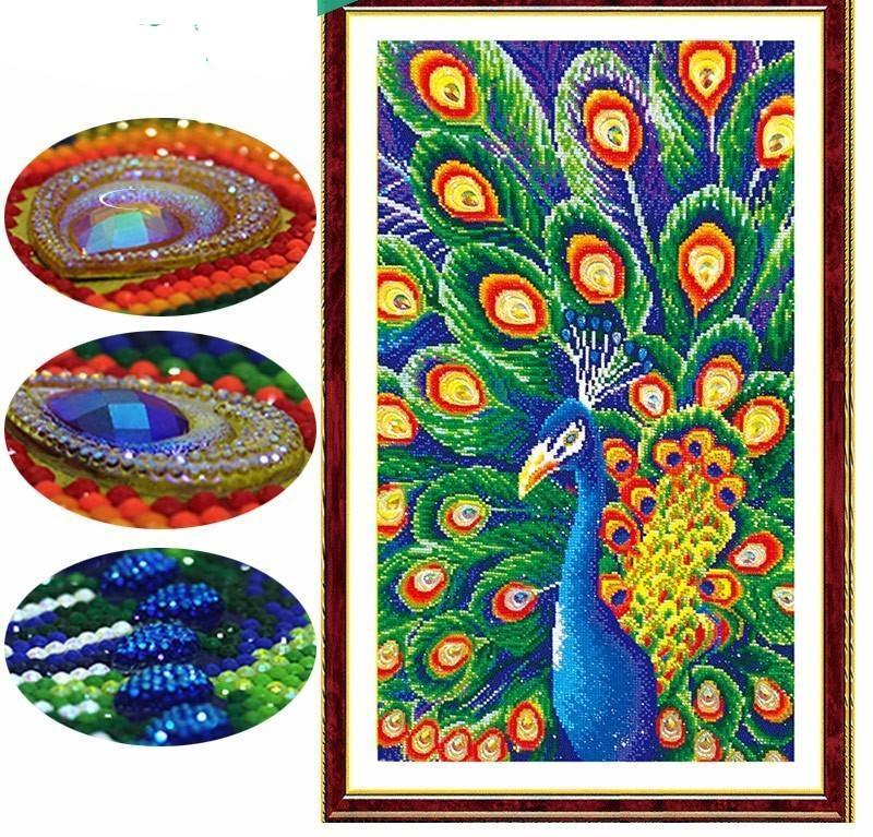 Special Shaped Animal Peacock Blue Diamond Painting Kit - DIY