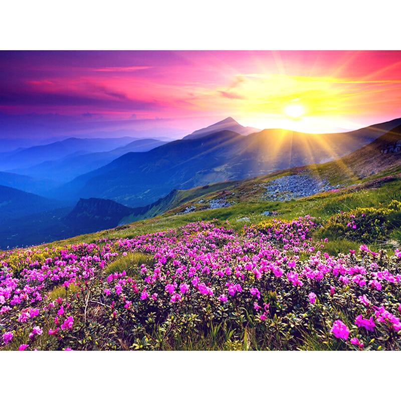 Landscape Sunrise And Purple Flower Diamond Painting Kit - DIY