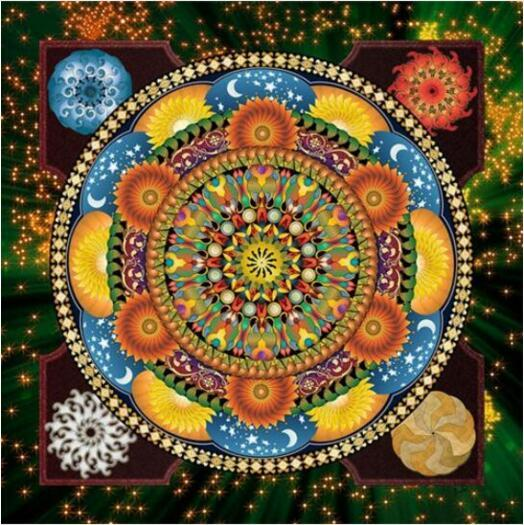 Mandala Blue And Yellow Diamond Painting Kit - DIY