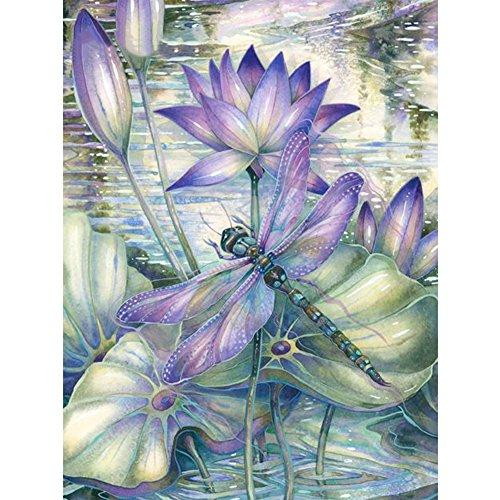 Flowers Lotus Dragonfly Diamond Painting Kit - DIY
