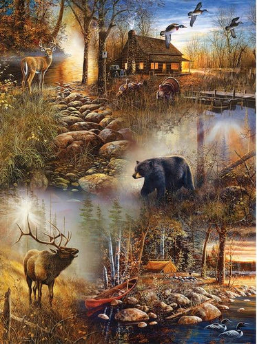 Elk And Bear Diamond Painting Kit - DIY