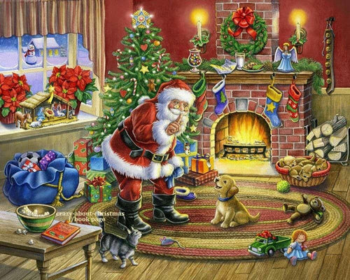 Christmas Santa Claus And Dog Diamond Painting Kit - DIY