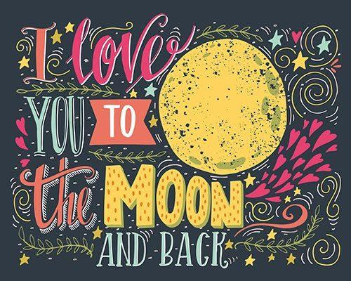 Love Moon Diamond Painting Kit - DIY