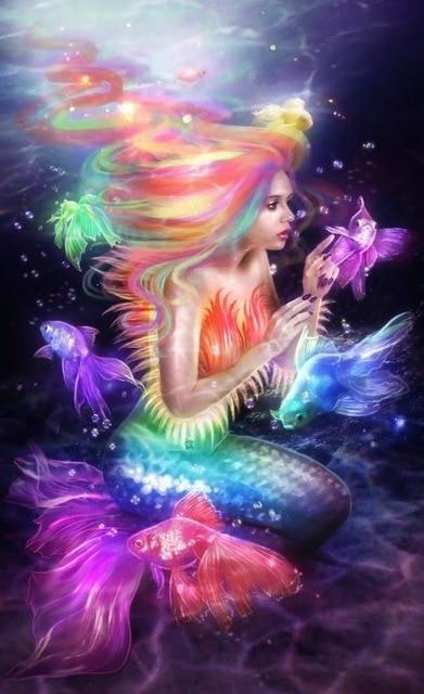 Mermaid Black Colors Diamond Painting Kit - DIY