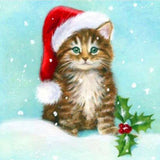 Christmas Cat Little Diamond Painting Kit - DIY