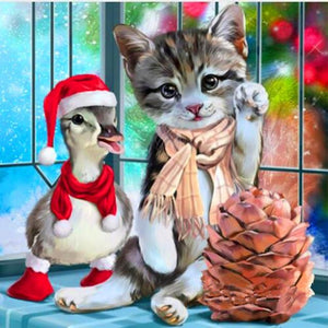 Christmas Cat And Duck Diamond Painting Kit - DIY