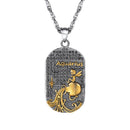 Zodiac Necklace for Men | Dog Tag Zodiac Pendant