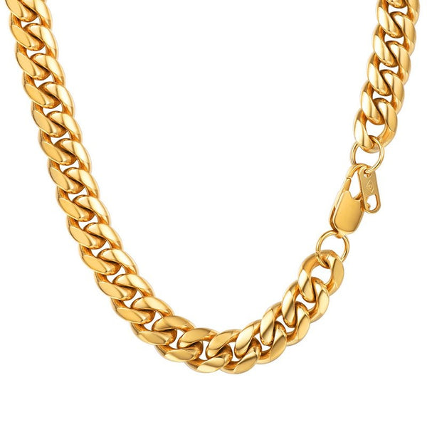 Mens 10mm Cuban Link Chain 18k Gold