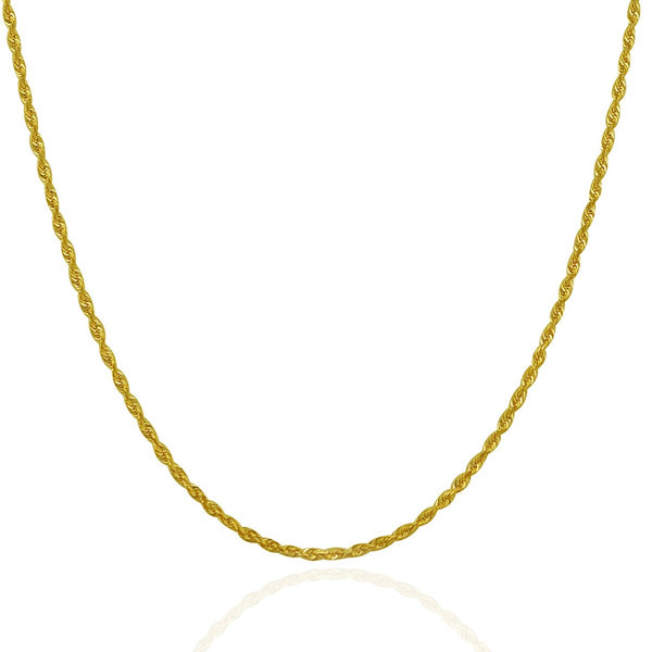 Rope Chain Necklace | Solid 14K Gold - 2 mm