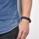 Blue Stitched Black Leather Bracelet for Men