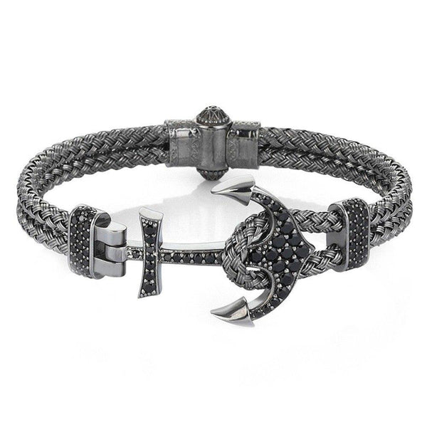 CZ Studded Steel Anchor Bracelet - Women - Men