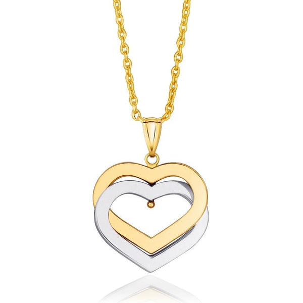 14k Gold Heart Necklace | Womens Double Heart Pendant