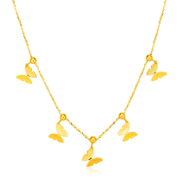 14k Gold Butterfly Necklace | Womens Butterfy Pendant