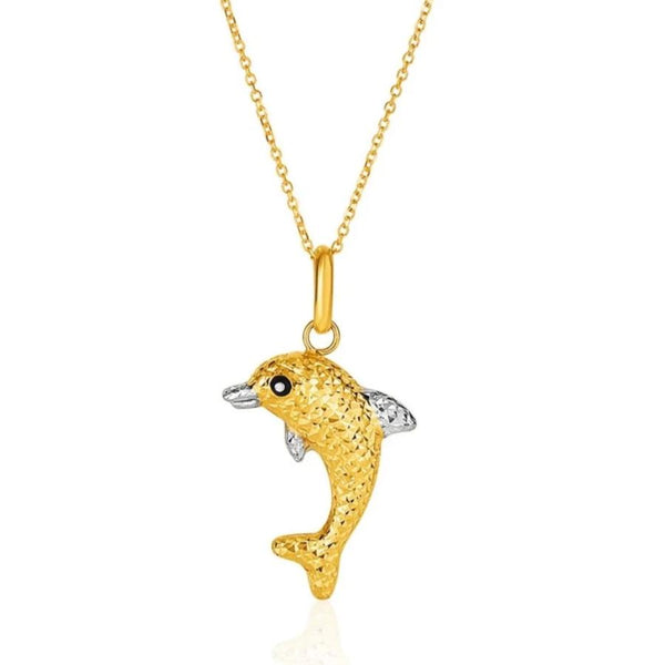 Dolphin Necklace 14K Gold | Womens Dolphin Pendant