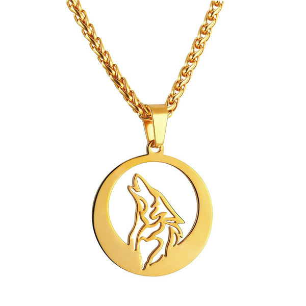 Hollow Howling Wolf Pendant Necklace for Men