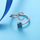 Sterling Silver Initial Ring Adjustable with Topaz & CZ