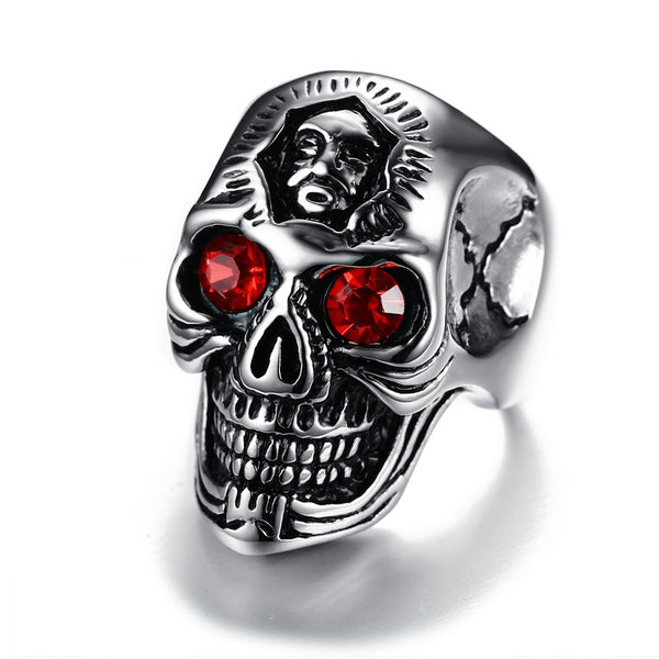 Rider Skull Ring with Red Eyes - Men - Stainless Steel