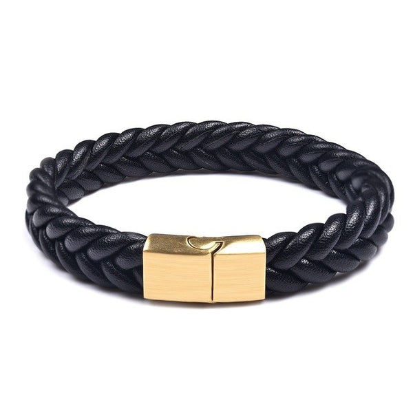 Mens Leather Ropes Woven Bracelet - Black