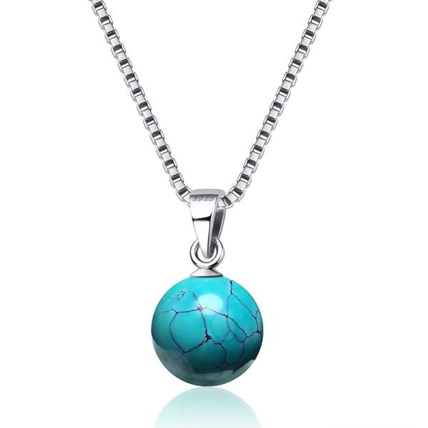 Sterling Silver Turquoise Bead Necklace - Turquoise Drop