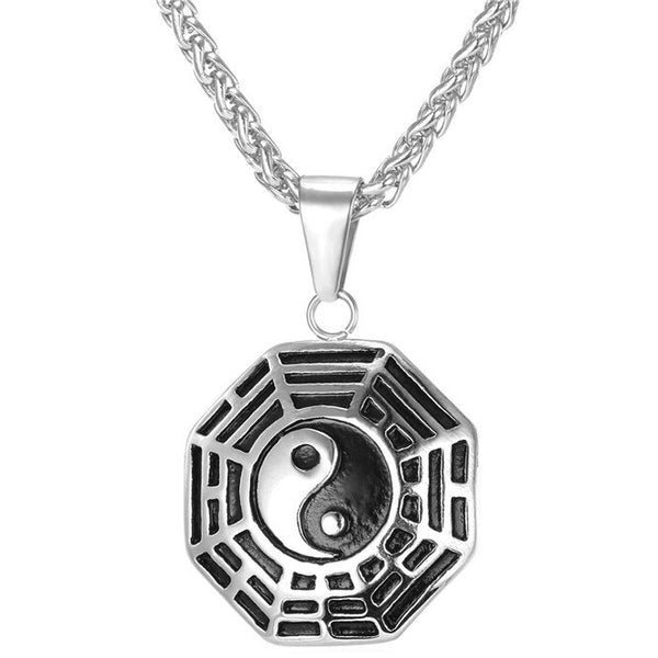 Silver Yin Yang Necklace Octagonal Pendant