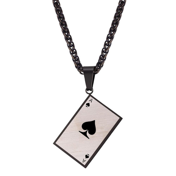 Ace of Spades Pendant Necklace Black