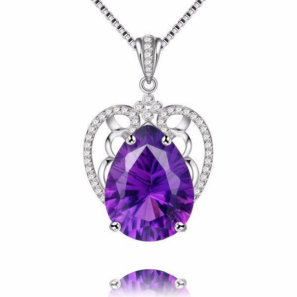 Amethyst Necklace | Teardrop Amethyst Pendant Sterling Silver