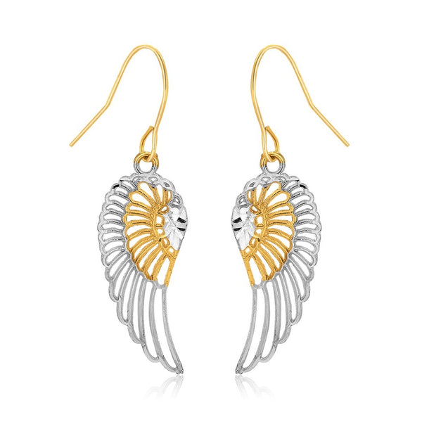 Angel Wing Earrings 10K Gold Two Tone
