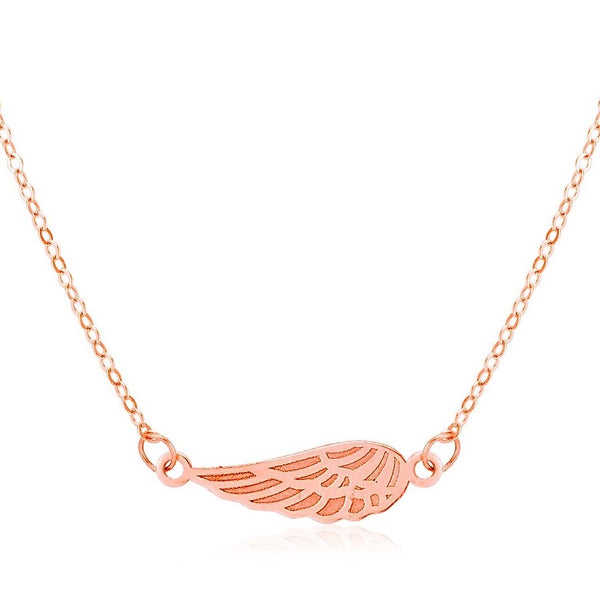 Angel Wing Necklace | 14K Rose Gold Pendant