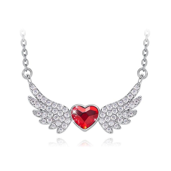 Angel Wings Heart Necklace in Sterling Silver with Swarovski Crystals