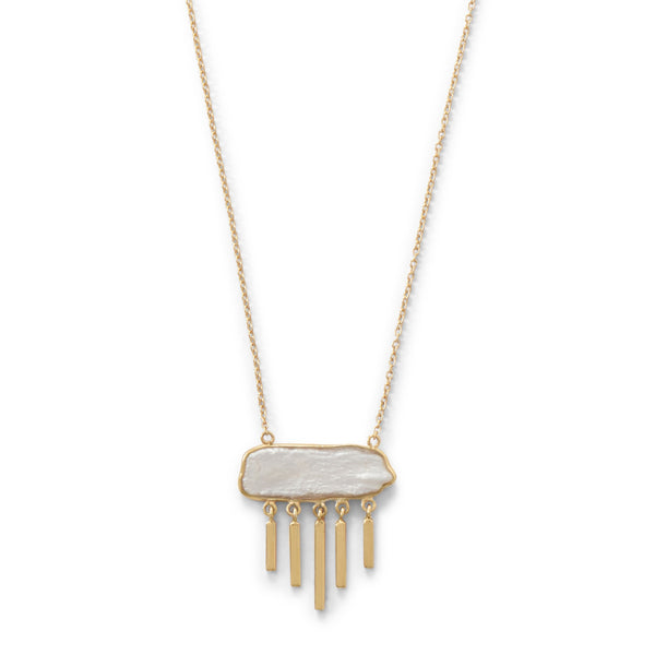 Bar Pearl Necklace | 14K Gold Plated Sterling Silver Pendant
