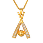 Baseball Necklace / Chain - Gold Crossed Bats Pendant
