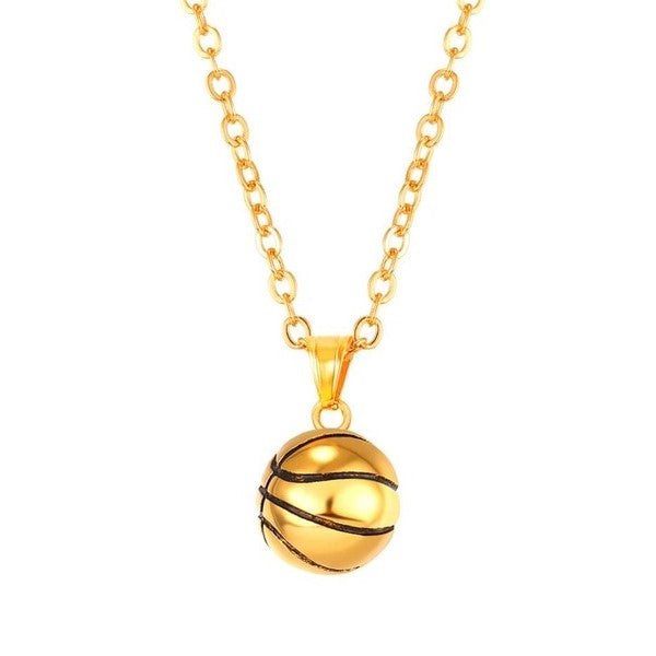 Gold Basketball Necklace | Basletball Charm Chain
