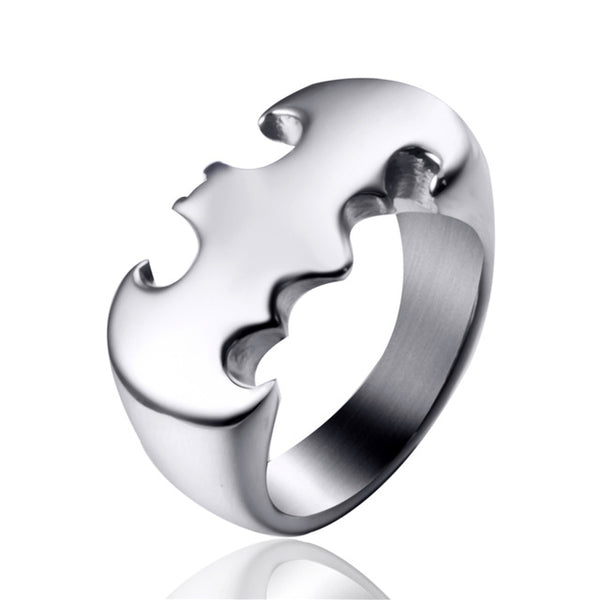 Batman Ring Mens Silver Stainless Steel