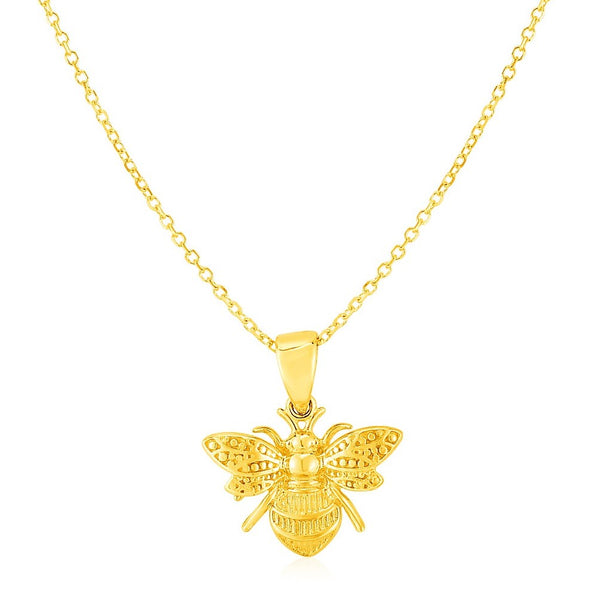 Bee Necklace | 14K Gold Bee Pendant