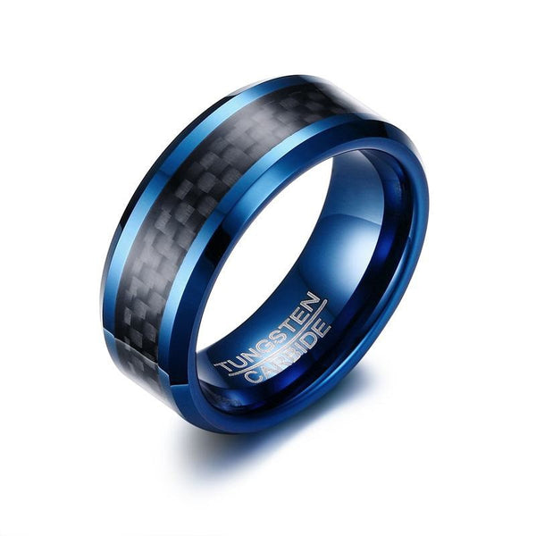 Mens Blue Tungsten Ring with Carbon Fiber Inlay