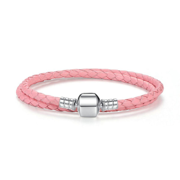 Braided Leather Bracelet - Sterling Silver Barrel Charm - Pink