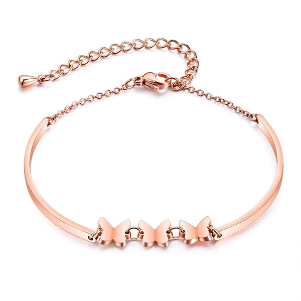 Rose Gold Butterfly Bracelet Adjustable