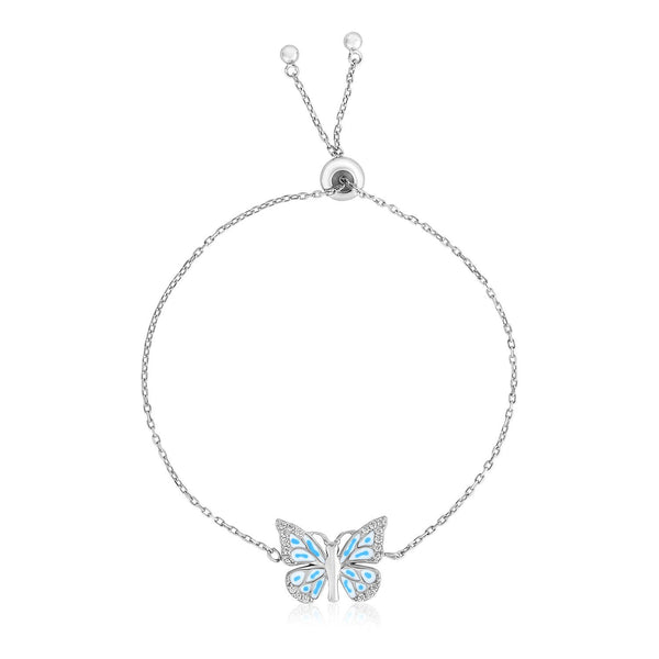 Butterfly Bracelet Sterling Silver Adjustable w/ Blue Enamel