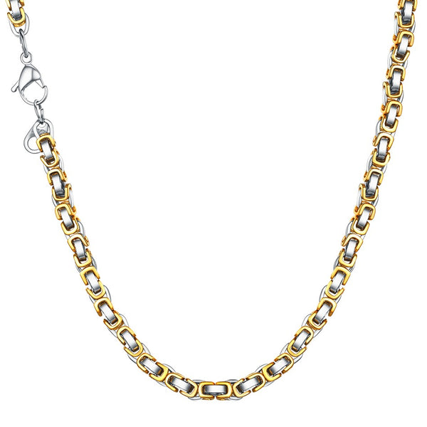 Byzantine Chain Necklace Gold Silver Men Women