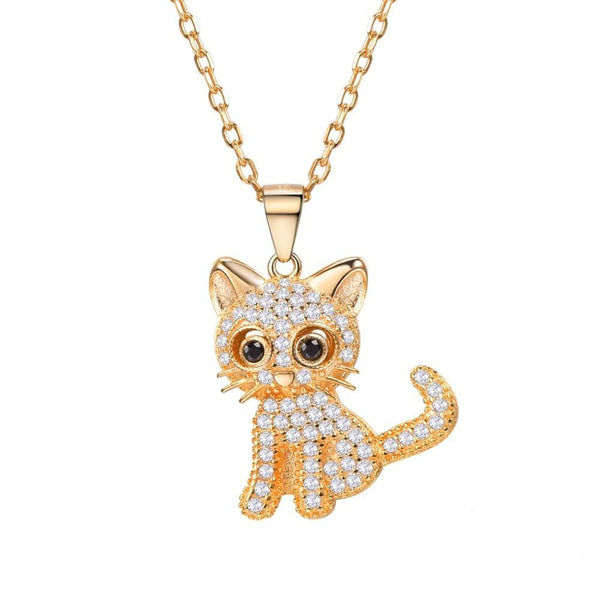 Cat Necklace Sterling Silver Gold with CZ