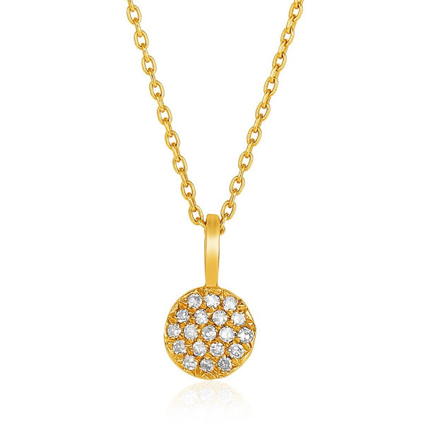 Circle Diamond Necklace 14K Yellow Gold | Womens Diamond Pendant
