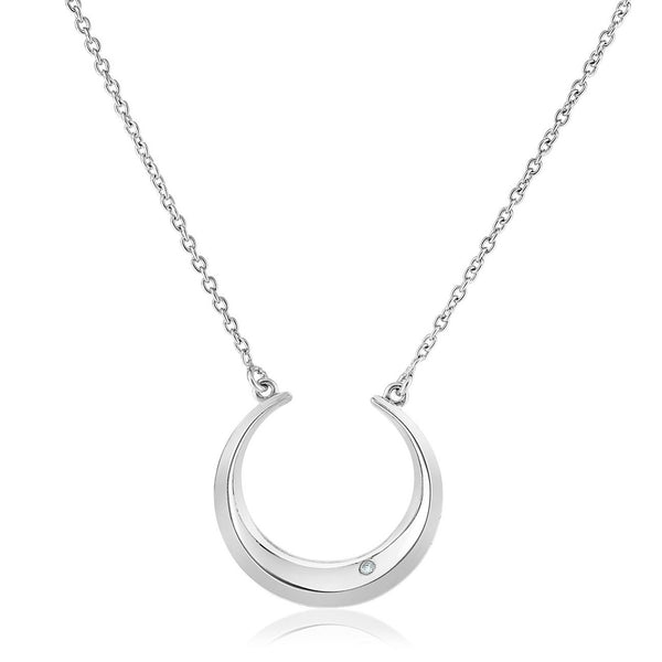 Crescent Moon Necklace Sterling Silver | Pendant w/ Diamond Accent