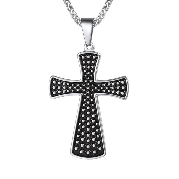Dotted Cross Necklace Black Enamel - Silver